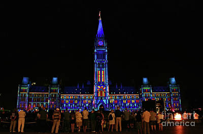 Photograph - Canadian Parliament Light Show by Charline Xia