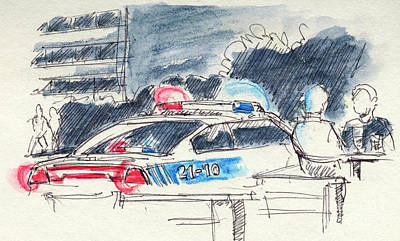 Montreal Restaurants Drawing - Canadian Police Car Lights Drawing by Frank Ramspott