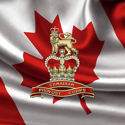 Digital Art - Canadian Provost Corps - C Pro C Badge Over Canadian Flag by Serge Averbukh
