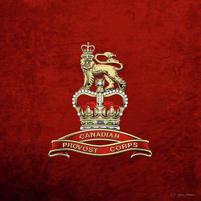 Digital Art - Canadian Provost Corps - C Pro C Badge Over Red Velvet by Serge Averbukh
