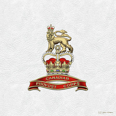 Digital Art - Canadian Provost Corps - C Pro C Badge Over White Leather by Serge Averbukh