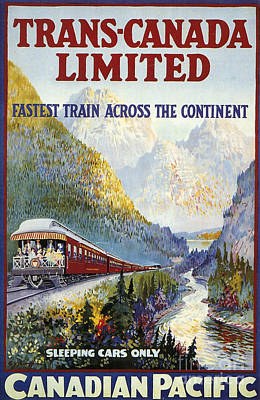 Canadian Pacific Painting - Canadian Railroad Poster by Granger
