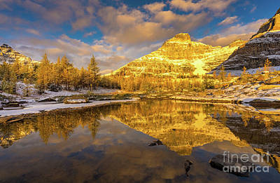 Photograph - Canadian Rockies Fall Colors Eiffel Peak Reflection by Mike Reid