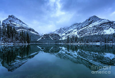 Photograph - Canadian Rockies Lake Ohara Mountainscape Winter Reflection by Mike Reid