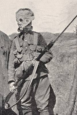 Chemical Drawing - Canadian Soldier Wearing Gas Mask In by Vintage Design Pics