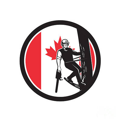 Digital Art - Canadian Tree Surgeon Canada Flag Icon by Aloysius Patrimonio