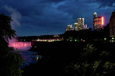 Photograph - Canadian View Niagara Falls At Night by Jeff Folger
