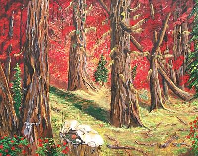 Painting -  Canadian White Pine  Red Maple by Sharon Duguay