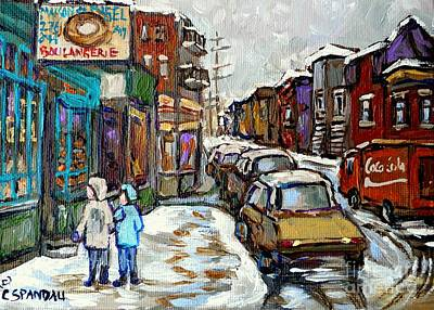 Montreal Judaica Painting - Canadian Winter Paintings Rue St Viateur Boulangerie Best Authentic Montreal Original Art by Carole Spandau