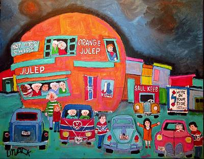 Painting - Canadien's Bus At The Orange Julep by Michael Litvack
