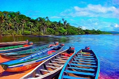 Canoe Digital Art - Canaima Lagoon  by David Dominguez