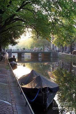 Small Boat Photograph - Canal And Boat. Amsterdam. Netherlands. Europe by Bernard Jaubert