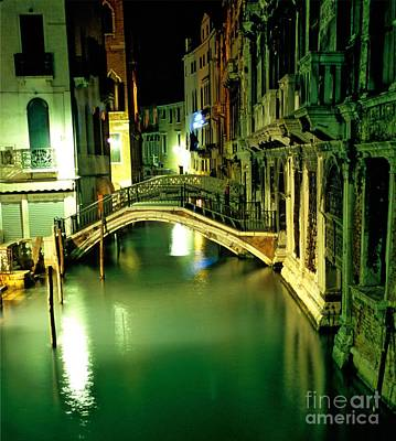 Canal And Bridge In Venice At Night Art Print by Michael Henderson