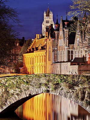 Photograph - Canal Bridge At Night - Bruges by Barry O Carroll