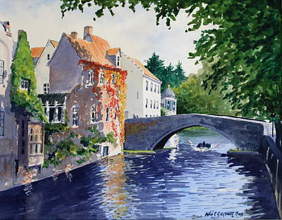 Belguim Wall Art - Painting - Canal Bruge Belguim by William Gardner