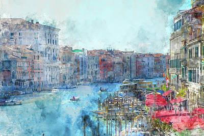 History Channel Digital Art - Canal Grande In A Summer Day In Venice, Italy by Brandon Bourdages