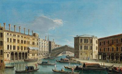Italian Landscapes Painting - Canal Grande Overlooking The Rialto Bridge by Apollonio Domenichini