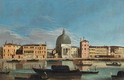 Italian Landscapes Painting - Canal Grande With The Church Of San Simeone Piccolo by Apollonio Domenichini