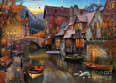 Swans.. Digital Art - Canal Home by MGL Meiklejohn Graphics Licensing