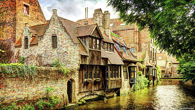 Photograph - Canal House In Bruges Panorama by Weston Westmoreland