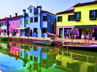 Photograph - Canal Houses Burano Bright 2 by Helaine Cummins