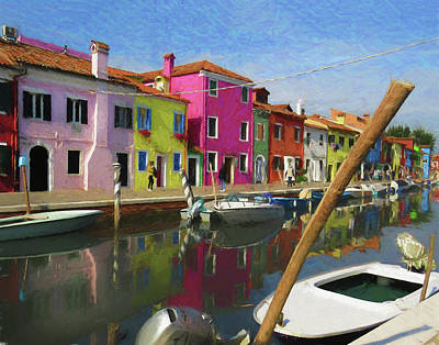 Photograph - Canal Houses Burano Italy 2 by Helaine Cummins