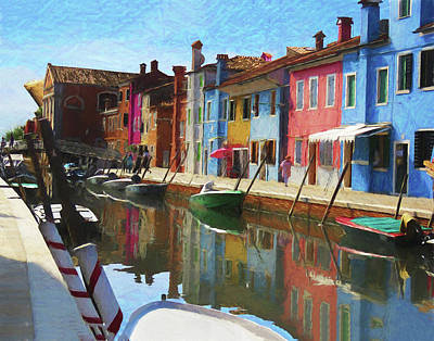 Digital Art - Canal Houses Burano Italy by Helaine Cummins