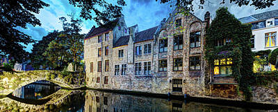 Photograph - Canal Houses In Bruges - Vintage by Weston Westmoreland