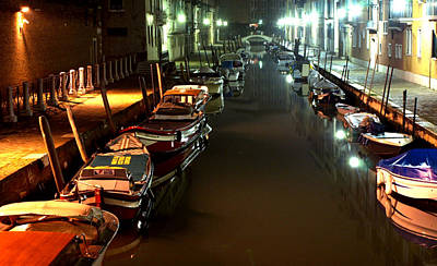 Canal In Venice At Night Art Print by Michael Henderson