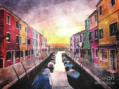 City Sunset Digital Art - Canal In Venice Italy by Phil Perkins