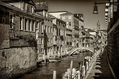 Photograph - Canal In Venice-monotone_dsc1721_03012017 by Greg Kluempers