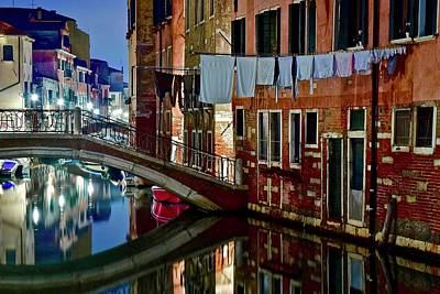 Photograph - Canal Laundy In Italy by Frozen in Time Fine Art Photography