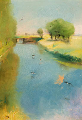 1897 Pastel - Canal by Lesser Ury