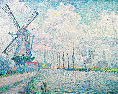 Divisionist Painting - Canal Of Overschie by Paul Signac