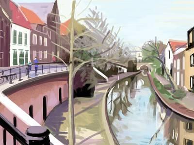 Reflexions Digital Art - Canal by Plum Ovelgonne
