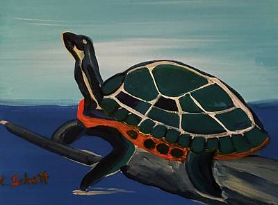 Painting - Canal Pointe Turtle by Christina Schott