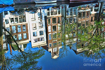 Art Print featuring the photograph Amsterdam Canal Reflection  by Allen Beatty