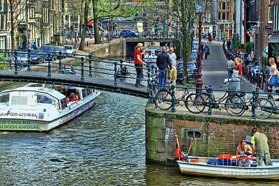 Art Print featuring the photograph Amsterdam Canal Scene 1 by Allen Beatty