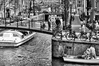 Photograph - Canal Scene 1 - B And W by Allen Beatty