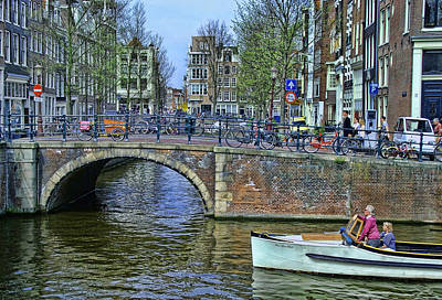 Art Print featuring the photograph Amsterdam Canal Scene 3 by Allen Beatty