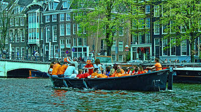 Photograph - Amsterdam Canal Scene 5 - World Cup Fever by Allen Beatty