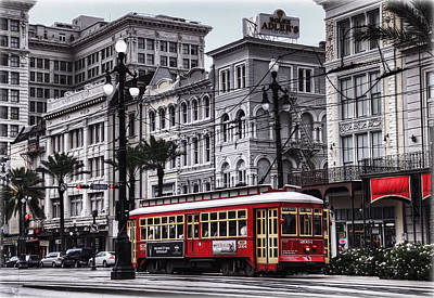 Old-fashioned Photograph - Canal Street Trolley by Tammy Wetzel