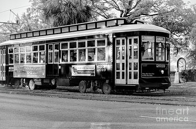 Photograph - Canal Streetcar 2019-bw by Kathleen K Parker