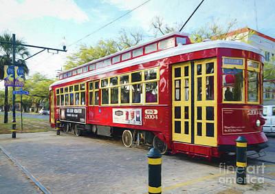Canal Streetcar - Digital Painting Art Print
