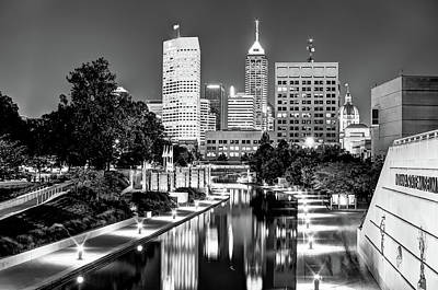 Photograph - Canal Walk To Indianapolis Indiana's Skyline - Black-white by Gregory Ballos