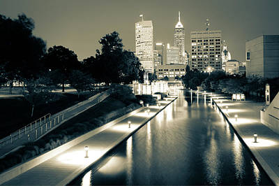 Photograph - Canal Walk To The Downtown Indianapolis Skyline - Sepia by Gregory Ballos