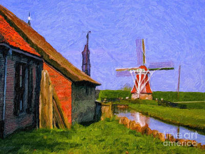 Photograph - Canal Windmill Paining by Rick Bragan