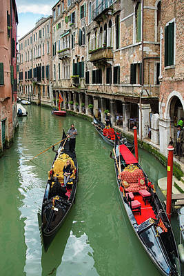 Photograph - Canal With Gondolas In Venice Italy by Matthias Hauser