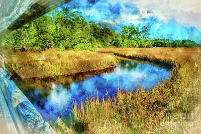 Mixed Media - Canals Bend Digital Watercolor by David Smith