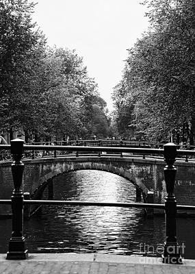 Photograph - Canals Of Amsterdam Netherlands Fine Art Photograph Black And White Landscape Photo by Tim Hovde
